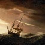 Perahu dengan ombak besar