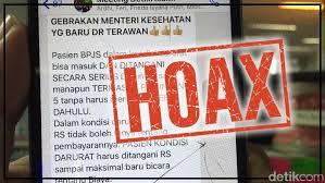Hoaks Gebrakan Menteri Kesehatan
